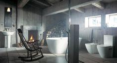 reforma baño moderno en vivienda rural con sanitarios blancos de diseño y bañera exenta, paredes y suelo de madera.