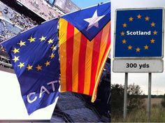 """Integration through separation: Catalonia and Scotland - one-europe.info, HALLVARD BARBOGEN, 21 Oct 2013. """"When Catalans by the millions demonstrate for independence, their goal is not isolation. When Scottish people voice their separatist claims through the legislative system, they are not working towards seclusion. These protesters oppose the nation-states they are part of, but embrace their European identity – and the European Union."""""""