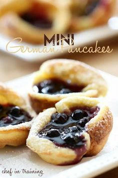 Mini German pancakes made in a muffin tin. Try it for breaky today yum x