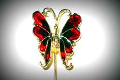 Butterfly Hat Pin Red  Black Art Glass Gold Tone by VampsVintage, $15.95
