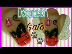 Decoración de uñas gatito - YouTube