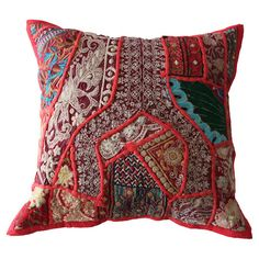 Add a splash of colour to your bedspread or sofa with this handmade cotton cushion cover. Featuring embroidered patchwork-style detailing, it adds an exotic ...