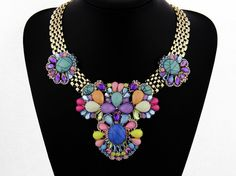 Colorful Bib Necklace Beadwork Statement Necklace Large by eBijoux, $25.99