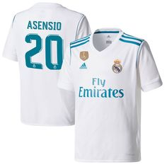Asensio Real Madrid adidas Youth 2017 18 Home Replica Patch Jersey - White  Asensio 8d813f341