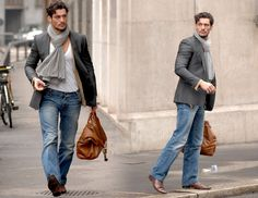 Model DavidGandy in jeans with a blazer.Love this look