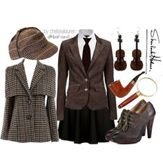 """Some old Sherlock love. Don't we all want a """"death frisbee""""?  How cute are violin earrings?  And those shoes...  :)"""
