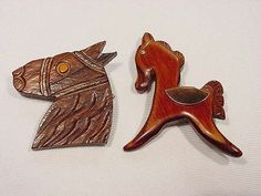 2 Vintage Carved Wood Horse Pins Full Body with Copper Saddle and Horse Head