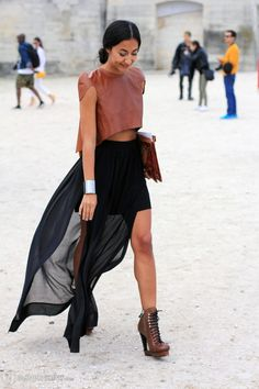 sheer skirt leather top