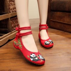 Women Casual Embroidered Panda Chinese Oxfords Hole Canvas Shoes XZ092 #NIBOX #Espadrilles #Casual