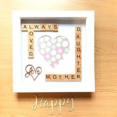 Mother Daughter Photo Frame. Mother's Day Gift. Photo Frame For Mums. Scrabble Box Frame #motherdaughter #mum #mothergift #mumgift #mothersday #scrabble #boxframe #scrabbleboxframe #photoframe