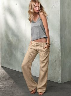 This whole outfit looks incredibly comfortable. The Beach Pant in Linen - Victoria's Secret Linen Beach Pants, Linen Pants, Fashion Mode, Look Fashion, Womens Fashion, Fashion Clothes, Linen Drawstring Pants, Summer Outfits, Cute Outfits
