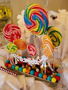 Lollipop Centerpiece - colorful and fun!