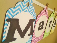 Math banner chevron teacher classroom banner classroom decoration cardstock kindergarden school banner 1st grade read library banner on Etsy, $14.00