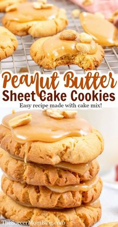 Peanut butter fans will love these amazing cookies from Soccer Mom Blog! These peanut butter Texas sheet cake cookies are the ultimate peanut butter cookie recipe! If you love peanut butter then you have to try this delicious dessert recipe! They are great for the whole family and easy enough to make with your kids! #easy #desserts #cookies #recipes #peanutbutter