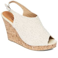 Charles Albert Natural Crochet New Wedge Sandal ($17) ❤ liked on Polyvore featuring shoes, sandals, high heel platform sandals, crochet sandals, wedge heel sandals, high heel shoes and lace shoes