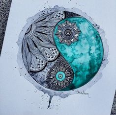 art, black and white, colors, draw, drawing, fiori, flowers, mandala, ying and yang, First Set on Favim.com, First set