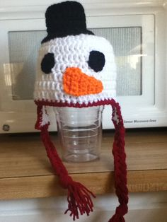 Snowman hat $20 - crocheted by Hugs-N-Stitches Boutique #hat #snowman #christmas #crochet