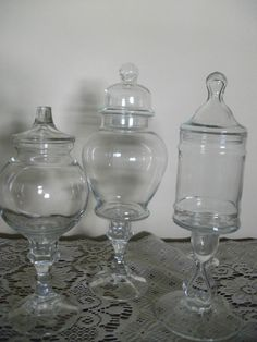 3 Vintage Apothecary Jar Candy Buffet Set by GLVintageShop on Etsy, $50.00
