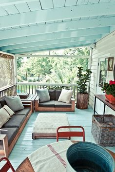 light blue porch