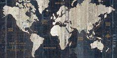 Old World Map Blue Konsttryck