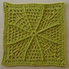 Octoghan - free crochet afghan square pattern by Agrarian Artisan in 11 languages. Friends Around the World Anniversary CAL week Crochet Squares Afghan, Crochet Blocks, Afghan Crochet Patterns, Crochet Granny, Crochet Motif, Crochet Stitches, Stitch Patterns, Knit Crochet, Granny Squares