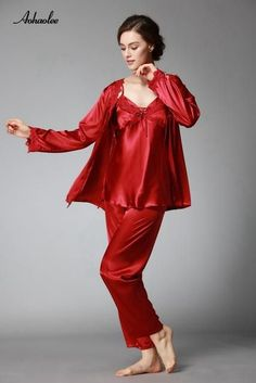e5402cd2ad 3 Pcs Pajama Sets Lace Sexy Women Robe Set Rayon Women Pajamas V-Neck  Nightgowns Silk Women s Pajama Sets