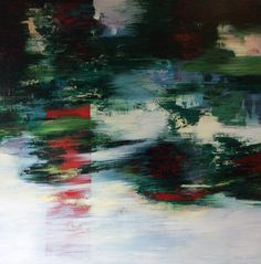 « Red Banner « Acrylic on canvas. 110 x 110 cm. Bjørnar Aaslund. 2017.