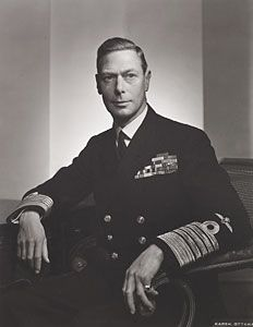 King George VI (1895 - 1952) King from 1936 - 1952. Married Elizabeth Bowes-Lyon and had two daughters. He had a speech impediment and ruled during WWII.