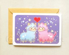 Alpaca Valentine Notecard: Cute Llama Greeting by BeagleCakesArt