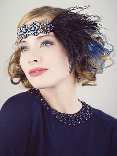 Deco Flapper Black Feather Headband Silver and Sapphire Blue : Accessories : Deanna DiBene Millinery #madeinUSA