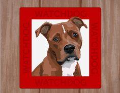 Pitbull Staffordshire terrier dog sign plaque door watch4dogz