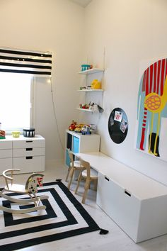 Kidsroom - Marimekko - stripes - Ikea Stuva - black and white - Artek Ikea Kids Room, Kids Bedroom, Kids Rooms, Chambre Nolan, Toddler Room Organization, Ikea Stuva, Kids Room Design, Home Design, Kid Spaces