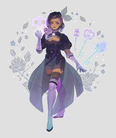 c(love)r - magical girl sombra Black Girl Cartoon, Black Girl Art, Art Girl, Overwatch Fan Art, Overwatch Memes, Super Hero Outfits, Hero Costumes, Character Design Inspiration, Art Plastique
