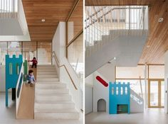 """The Architecture of Early Childhood: A new centre in Belgium is elevated off the street with 6 """"living areas"""" housed around a central sunny atrium School Fun, Pre School, School Ideas, School Architecture, Interior Architecture, Preschool Classroom, Kindergarten, Learning Spaces, Entry Foyer"""