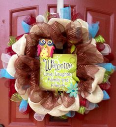 Deco Mesh Wreath Fall Wreath Owl Wreath Front Door Decor Welcome Home on Etsy, $50.00