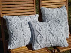 Silver Gray Handmade Cabled Knit Pillow cushion by ELITAI on Etsy, $59.00
