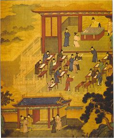 Chinese Civil Service Exam, a Chinese innovation in which roughly half the civil service positions were awarded on the basis of merit rather than inherited position.  Tests were of standard Confucian texts. This image comes from the Song Dynasty (960-1279 CE)