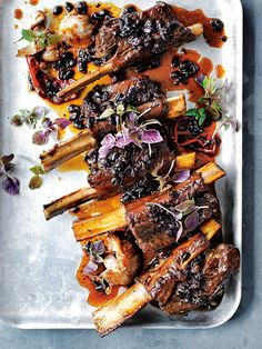 sticky beef ribs with salted black beans