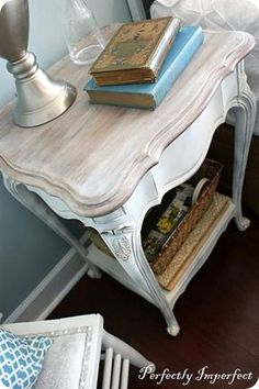 Two tone distressed furniture. We have Shabby Chic furniture available to order that is very similar to this .check out the photos on our facebook page.The Shabby Chicks.
