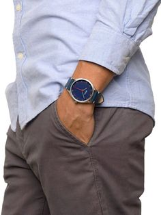 Blue Leather & Blue Dial Watch, 40mm by Breda at Gilt