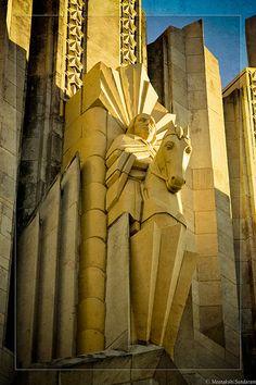 Art Deco Equestrian Circuit Rider Terra cotta sculpture detail at Boston Avenue Church, Tulsa, Oklahoma. New Architecture, Beautiful Architecture, Architecture Details, Art Nouveau, Sculpture Art, Sculptures, Statues, Art Deco Stil, Deco Retro