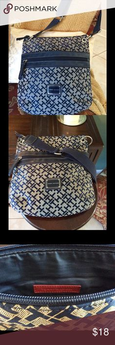 TOMMY HILFIGER CROSSBODY BAG Blue and tan crossbody. Good condition, no noticeable scuffs, clean. Tommy Hilfiger Bags Crossbody Bags