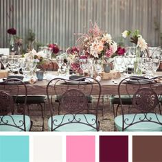 Aqua, Pink and Maroon Color Palette