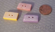 3 vtg auth LEA STEIN BUTTONS rectangle fine mosaic tile PINK YELLOW LAVENDER