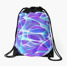 Waves Pattern on Pink Drawstring Bag by Terrella.  A pattern of abstract waves on a pinkish purple background • Also buy this artwork on bags, apparel, phone cases, and more.