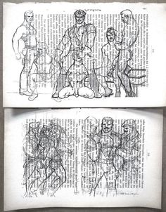 Erotic Gay poster / Tom from Finland /Print 2 page mens love/Antique German book #Artprint