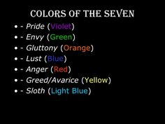 Image result for seven deadly sins colors