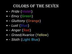 Image result for seven deadly sins colors
