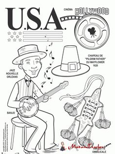 kleurplaat USA, Jazz et Hollywood Kids Around The World, Travel Around The World, Around The Worlds, Colouring Pages, Adult Coloring Pages, Coloring Books, Countries Of The World, World Cultures, Little Passports