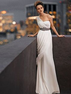 Vera Wang Grecian Wedding Dress, Lilac Band (Beach) Ashley, what if it went in a bit to the knee to give it a slight mermaid-esque look?